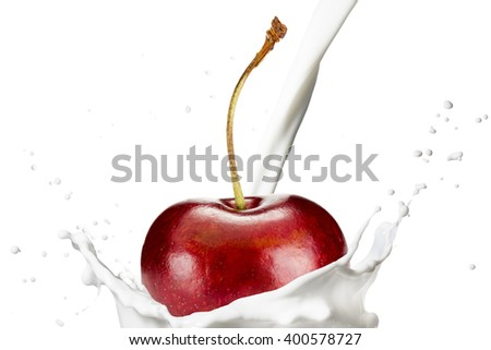 Fresh Cherry Fruit Fall on Milk Splash - stock photo