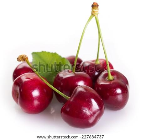 fresh cherry isolated on white background - stock photo