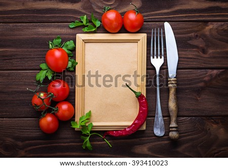 Fresh cherry tomato, parsley and frame for text. Selective focus - stock photo
