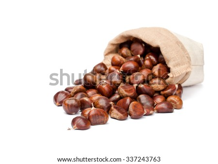 fresh  chestnuts in sack bag on white background  - stock photo