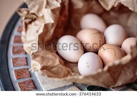 Fresh Chicken Eggs from free roaming Animals at Italian Farm - stock photo