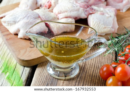 Fresh chicken marinated - stock photo