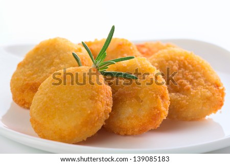 fresh chicken nuggets - stock photo