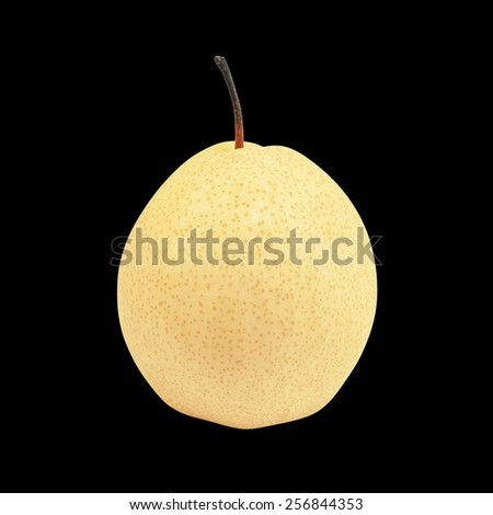 fresh chinese pear isolated on black background, oriental pear - stock photo