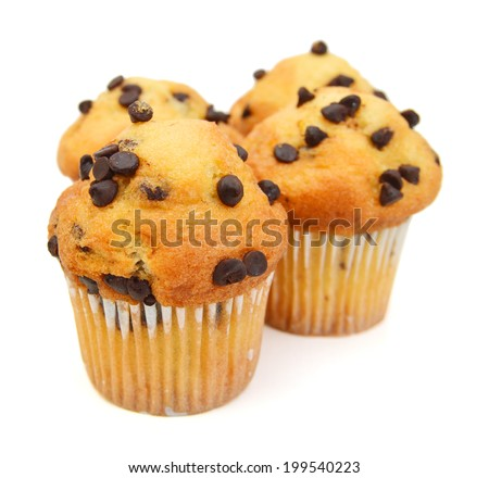 Fresh chocolate chip muffin close up.  - stock photo