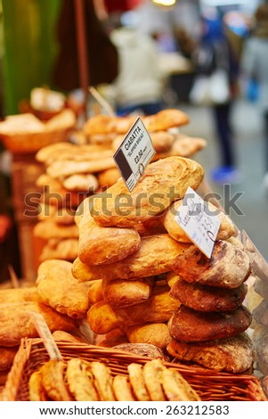 Fresh ciabatta bread on London farmer market - stock photo