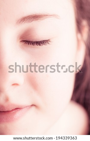 fresh clear skin on female face - stock photo