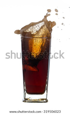 Fresh Coca Cola  with splash isolated on a white background - stock photo