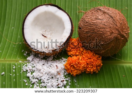 Fresh coconut cut open in half isolated on green banana leaf background Kerala India. Grated coconut top view. for cooking, frying, seasoning sambar, chutney. desiccated coconut oil      - stock photo
