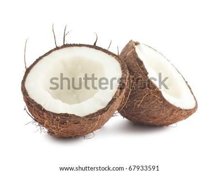 Fresh coconut isolated on white background - stock photo