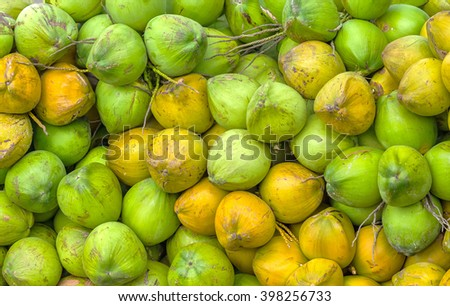 Fresh Coconut pile on a boat with hundreds of coconut is neatly on a boat preparing to deliver to customers, this is a tropical drink nutritious for humans grinding everyone likes - stock photo