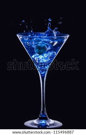 fresh coctail on the black background - stock photo