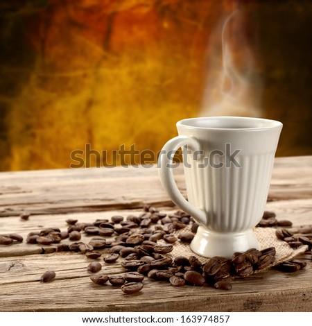 fresh coffee and vintage mug  - stock photo