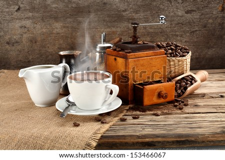 fresh coffee on wooden space  - stock photo