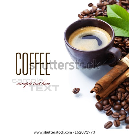 Fresh coffee over white background - stock photo