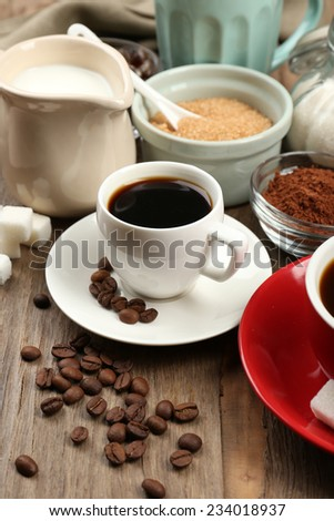 Fresh coffee with several ingredients - stock photo