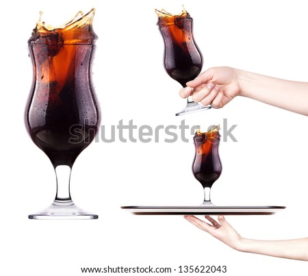 Fresh cola  with splash set - with hand,tray and nobody - stock photo