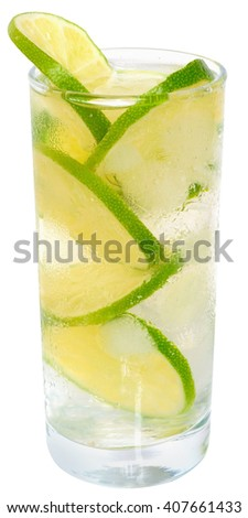 Fresh cold lemonade from lime with ice close up on a white background. - stock photo