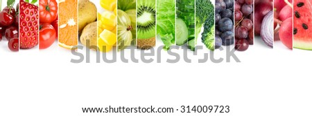 Fresh color fruits and vegetables. Healthy food concept - stock photo
