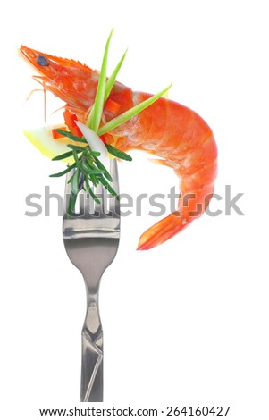 Fresh colorful composition with seafood on fork, isolated on white - stock photo
