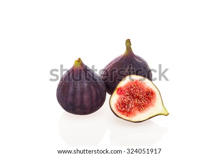 Fresh common fig (Ficus carica) isolated on white background - stock photo