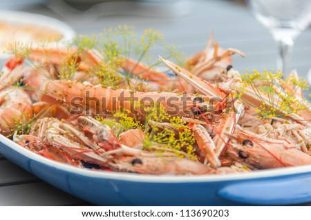 Fresh cooked crayfish ready to eat. - stock photo