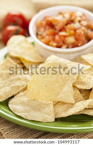 Fresh Corn Tortilla Chips and Salsa background - stock photo