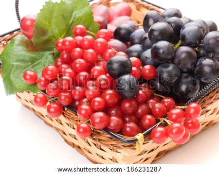Fresh cranberries and grapes in basket isolated on white background - stock photo