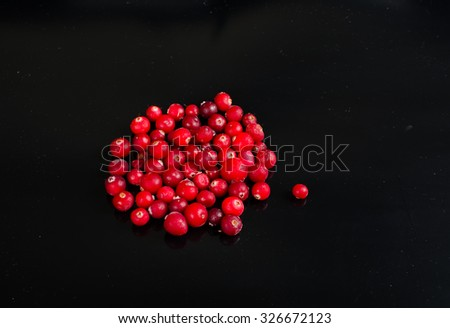 fresh cranberries on a black background  - stock photo