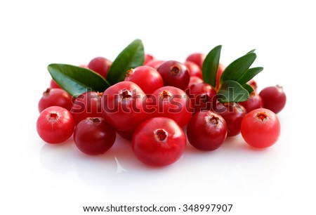Fresh cranberries with leaves isolated on white - stock photo