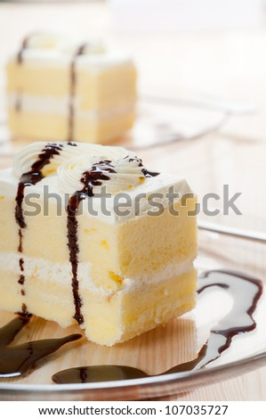 fresh cream cake closeup with chocolate sauce topping - stock photo