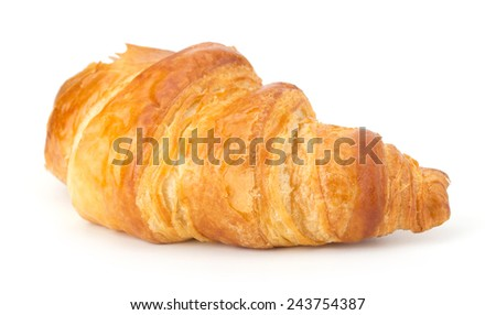 Fresh croissant isolated on the white background - stock photo