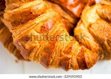 Fresh Croissants are ready for the Breakfast, Macro Shot, Closeup, Shallow DOF, Selective Focus - stock photo