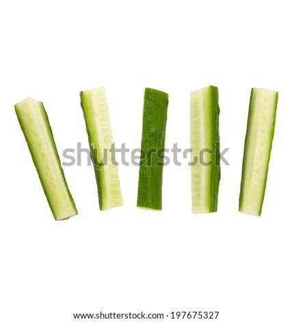 fresh cucumber stick isolated on white  - stock photo