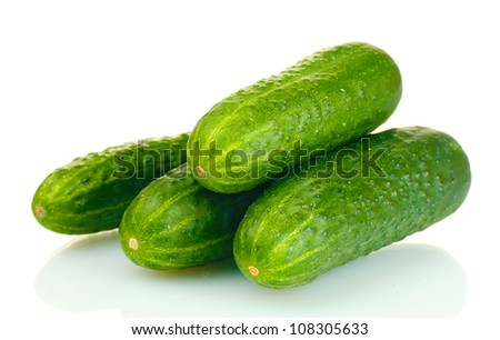 fresh cucumbers isolated on white - stock photo