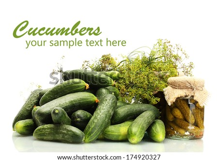 Fresh cucumbers, pickles and dill  isolated on white - stock photo