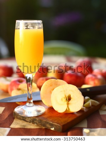 fresh cut  apples prepare for cider making - stock photo