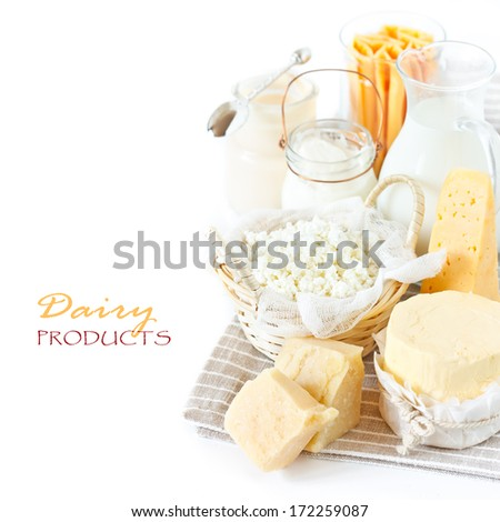 Fresh dairy products in the gray linen napkin. Rustic style. - stock photo
