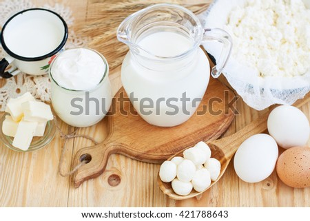 Fresh dairy products (milk, cottage cheese, sour cream, mozzarella, butter), wheat on light wooden background - stock photo