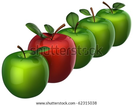 Fresh delicious apples (four green and one red) in a row. Leadership concept. This is detailed 3D render (Hi-Res). Isolated on white - stock photo