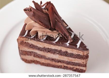 fresh delicious Dark chocolate cake background - stock photo