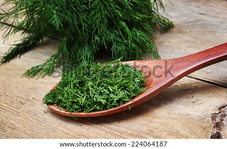 Fresh dill in a wooden spoon. Macro with shallow doff. - stock photo