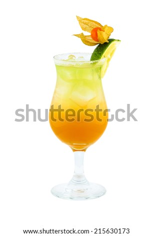Fresh drink cocktail on white background isolation with clipping path - stock photo