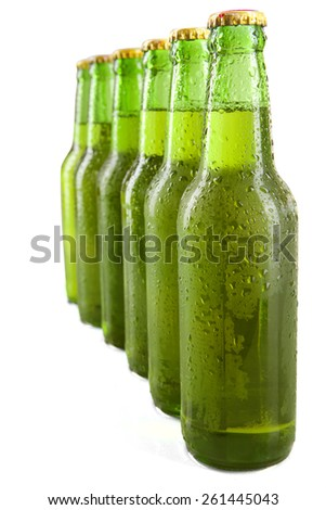 Fresh drink in the bottles with green color, isolated on white background - stock photo