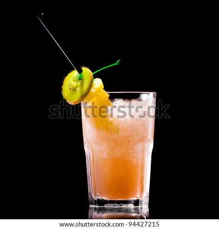 Fresh drink on black background - stock photo