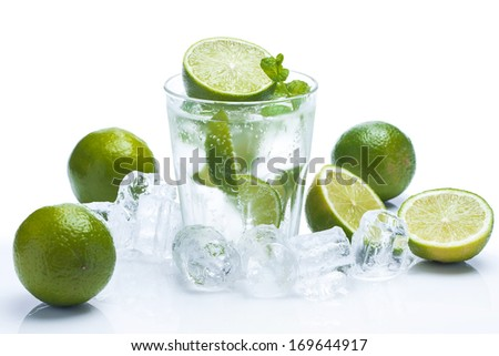 Fresh drink with lime and mint on white background - stock photo