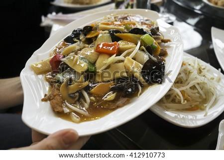 Fresh duck asian dish - chop suey close up - stock photo