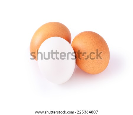 Fresh egg and Salted egg on white background - stock photo