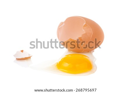 Fresh egg yolks isolated on white background - stock photo