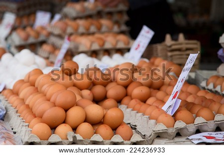 fresh eggs at the market. - stock photo